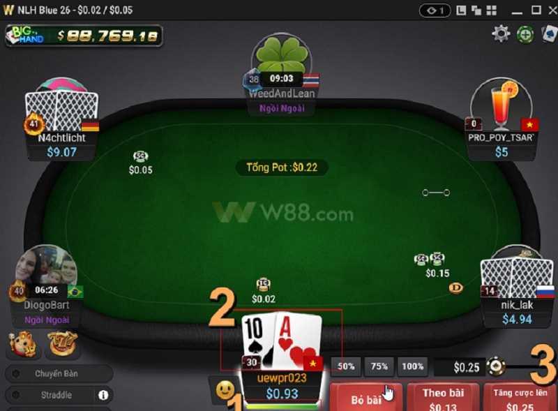 cách chơi đánh bài xì tố online tại w88