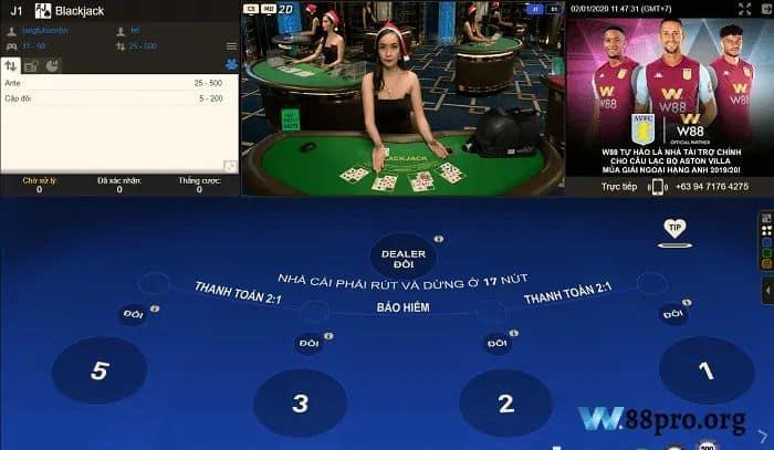 w88 casino đánh bài online ăn tiền thật blackjack